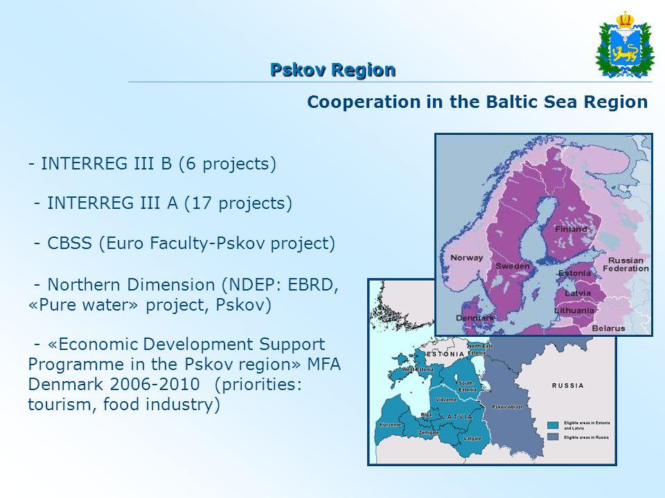 - INTERREG III B (6 projects) - INTERREG III A (17 projects) - CBSS (Euro Faculty-Pskov project) - Northern Dimension (NDEP: ЕBRD, «Pure water» projec