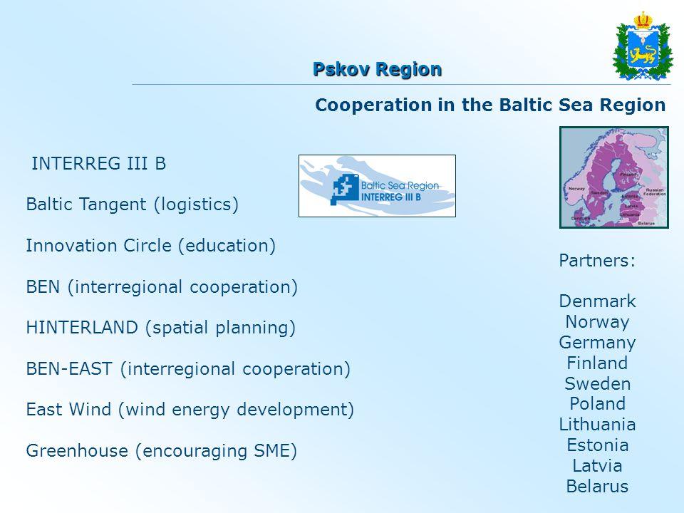 INTERREG III B Baltic Tangent (logistics) Innovation Circle (education) BEN (interregional cooperation) HINTERLAND (spatial planning) BEN-EAST (interregional cooperation) East Wind (wind energy development) Greenhouse (encouraging SME) Partners: Denmark Norway Germany Finland Sweden Poland Lithuania Estonia Latvia Belarus Cooperation in the Baltic Sea Region Pskov Region