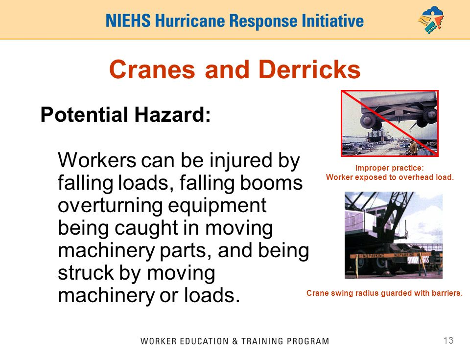 13 Cranes and Derricks Potential Hazard: Workers can be injured by falling loads, falling booms overturning equipment being caught in moving machinery