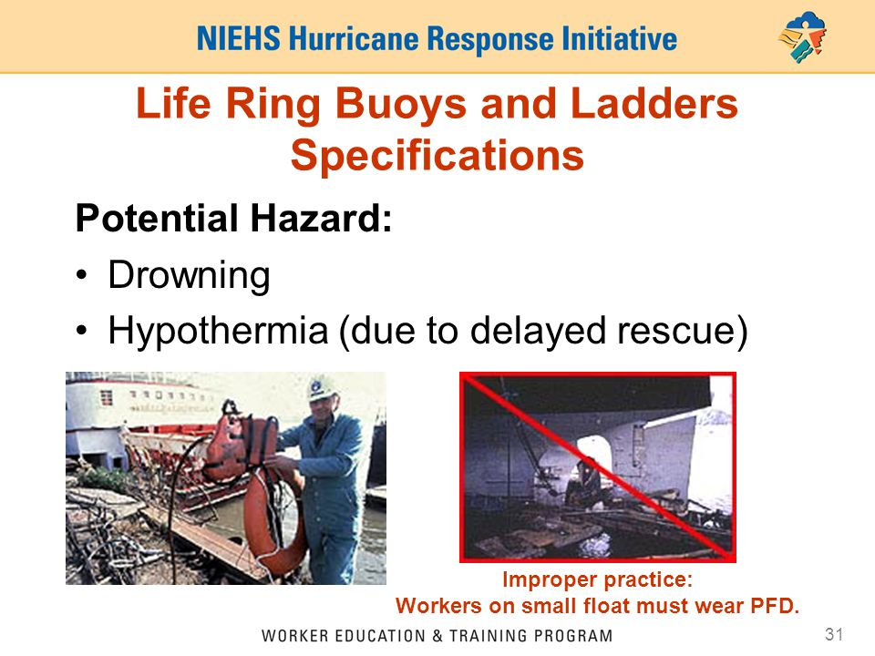 31 Life Ring Buoys and Ladders Specifications Potential Hazard: Drowning Hypothermia (due to delayed rescue) Improper practice: Workers on small float must wear PFD.