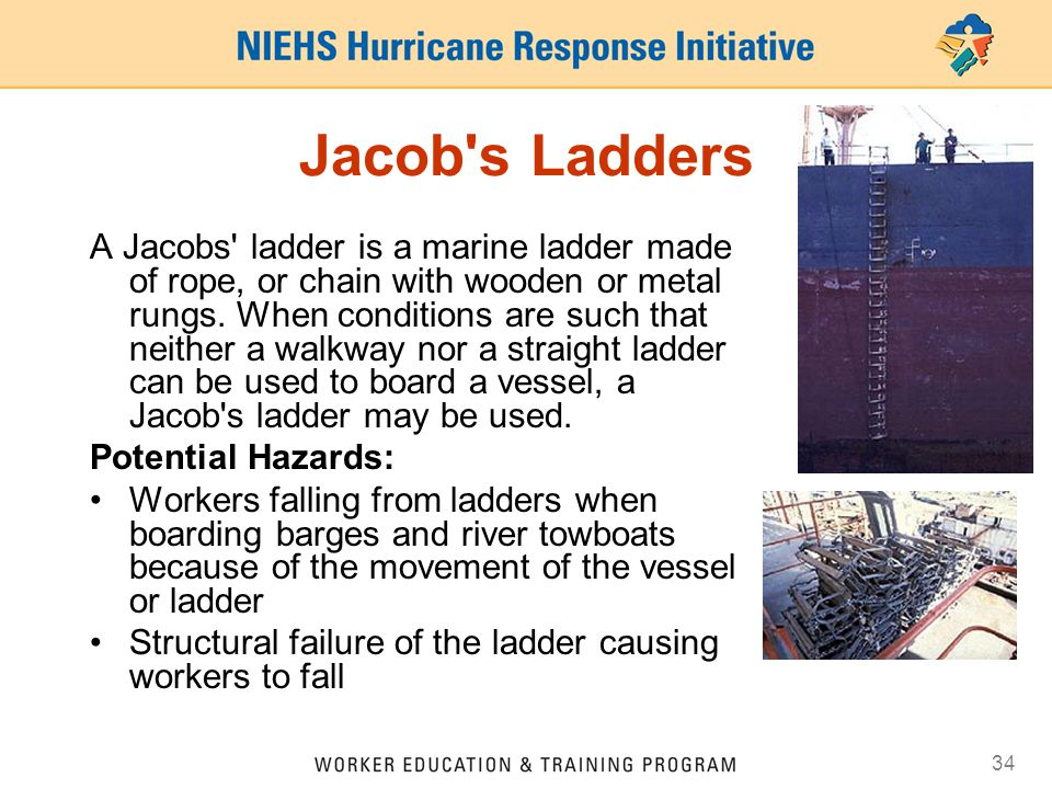 34 Jacob s Ladders A Jacobs ladder is a marine ladder made of rope, or chain with wooden or metal rungs.