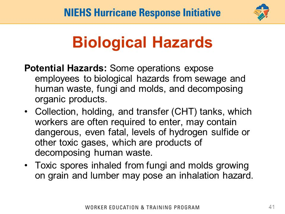 41 Biological Hazards Potential Hazards: Some operations expose employees to biological hazards from sewage and human waste, fungi and molds, and decomposing organic products.