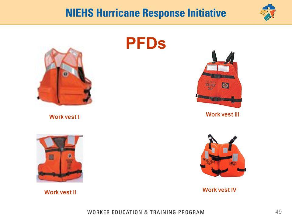49 PFDs Work vest I Work vest II Work vest IV Work vest III