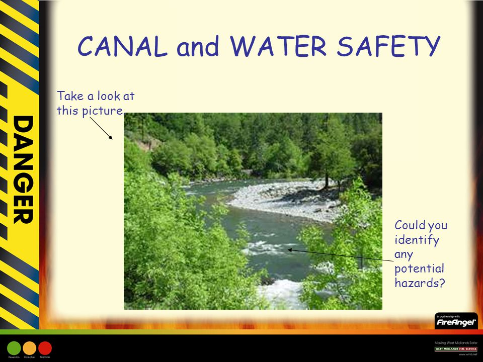 Take a look at this picture. Could you identify any potential hazards? CANAL and WATER SAFETY