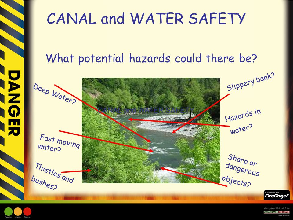 What potential hazards could there be. Deep Water.