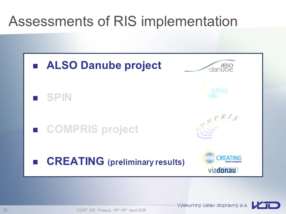 COST 355, Piraeus, 18 th -19 th April 2006 28 Assessments of RIS implementation ALSO Danube project SPIN COMPRIS project CREATING (preliminary results