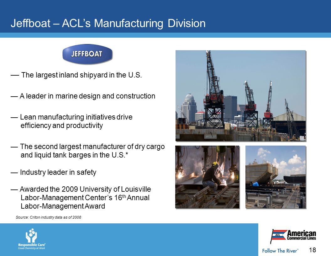 18 Jeffboat – ACL's Manufacturing Division — The largest inland shipyard in the U.S.