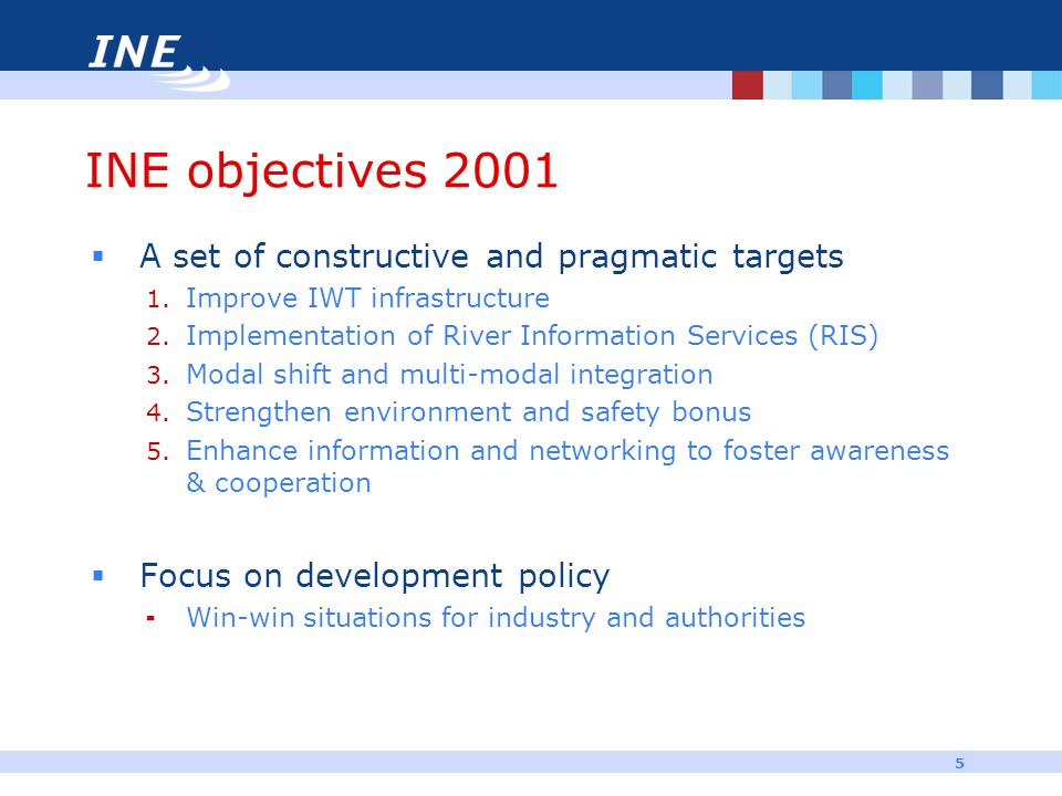 5 INE objectives 2001  A set of constructive and pragmatic targets 1. Improve IWT infrastructure 2. Implementation of River Information Services (RIS