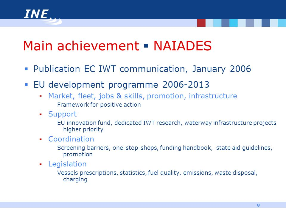 8 Main achievement  NAIADES  Publication EC IWT communication, January 2006  EU development programme 2006-2013  Market, fleet, jobs & skills, pro