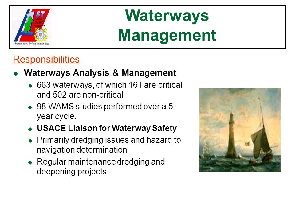 Waterways Management Responsibilities u Waterways Analysis & Management u 663 waterways, of which 161 are critical and 502 are non-critical u 98 WAMS studies performed over a 5- year cycle.