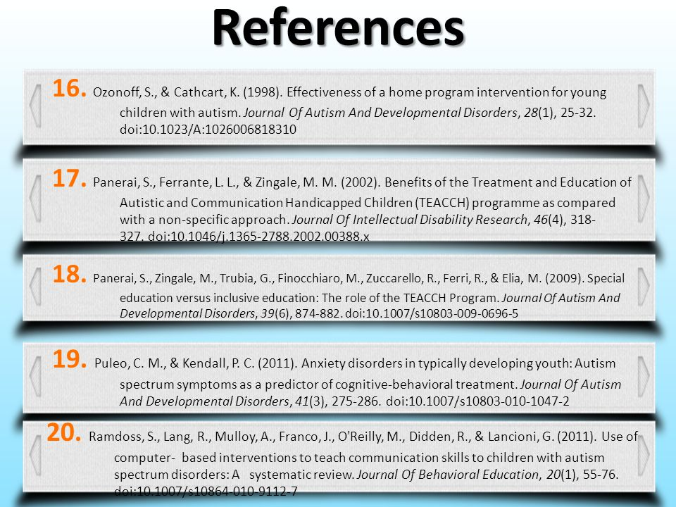 References 16. Ozonoff, S., & Cathcart, K. (1998). Effectiveness of a home program intervention for young children with autism. Journal Of Autism And