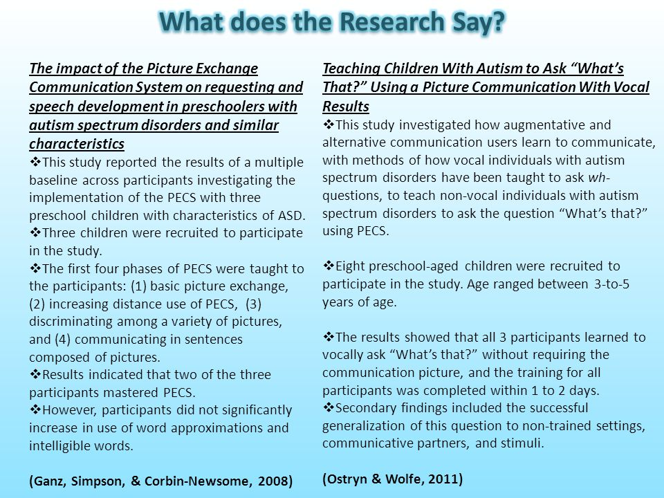 The impact of the Picture Exchange Communication System on requesting and speech development in preschoolers with autism spectrum disorders and simila