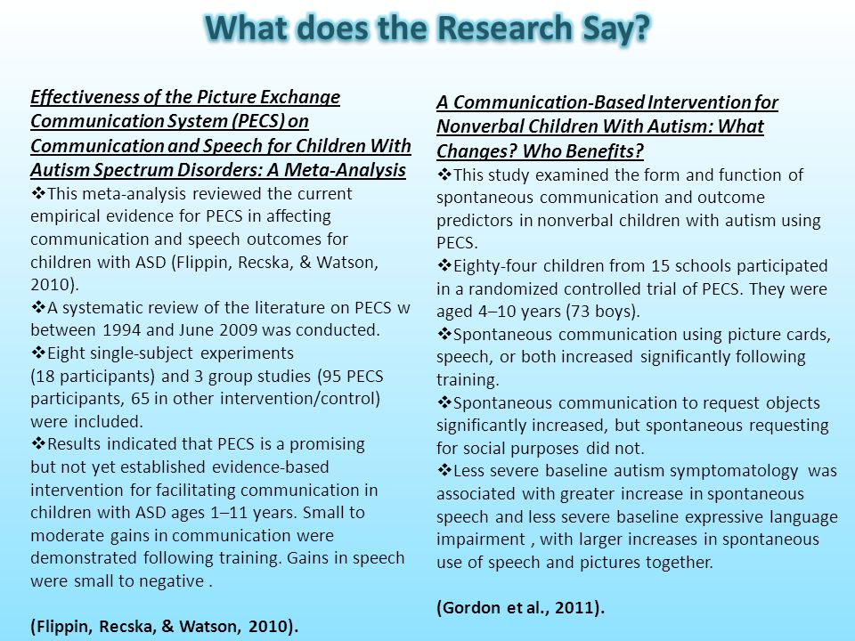 Effectiveness of the Picture Exchange Communication System (PECS) on Communication and Speech for Children With Autism Spectrum Disorders: A Meta-Anal
