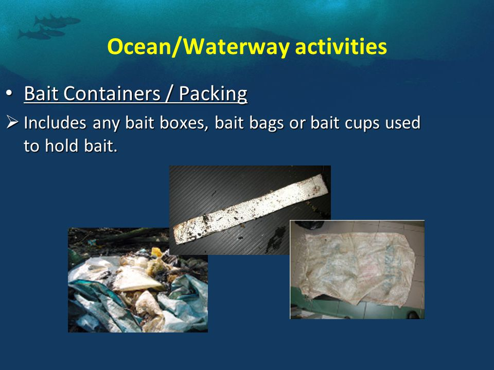 Bait Containers / Packing Bait Containers / Packing  Includes any bait boxes, bait bags or bait cups used to hold bait.