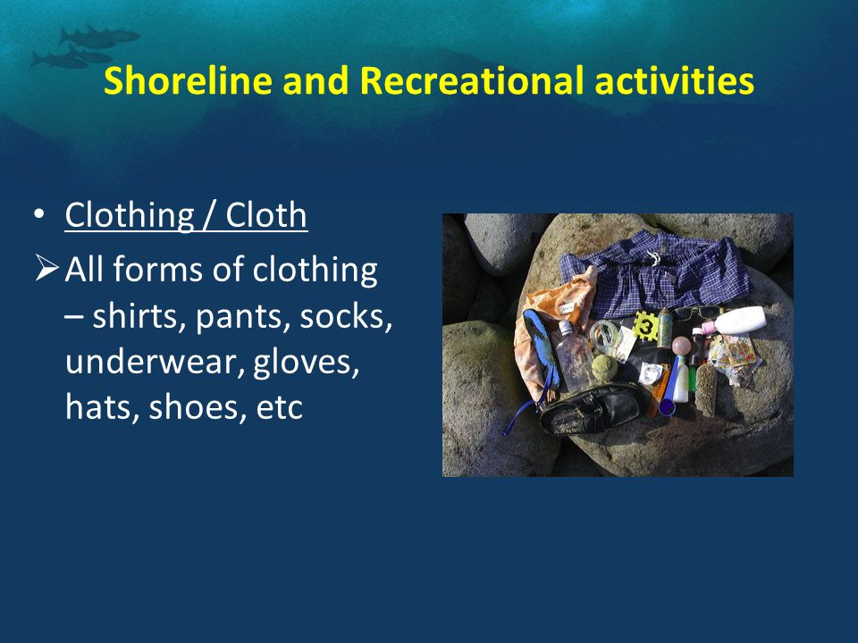 Shoreline and Recreational activities Clothing / Cloth  All forms of clothing – shirts, pants, socks, underwear, gloves, hats, shoes, etc