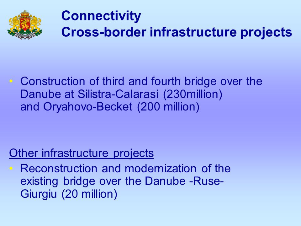 Connectivity Cross-border infrastructure projects Construction of third and fourth bridge over the Danube at Silistra-Calarasi (230million) and Oryaho