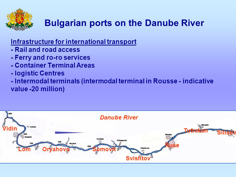 Bulgarian ports on the Danube River Infrastructure for international transport - Rail and road access - Ferry and ro-ro services - Container Terminal
