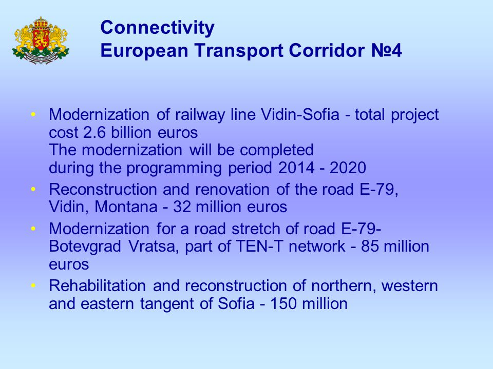 Connectivity European Transport Corridor №9 and №10 Ensuring the connection with Corridor 9: Express road Ruse – Veliko Tarnovo Ensuring the connection with Corridor 10 : Building Maritza HW - the shortest route to Instanbul and the way to transport goods to the EU-Asia and Middle East Building Sofia-Kalotina-Nish HW