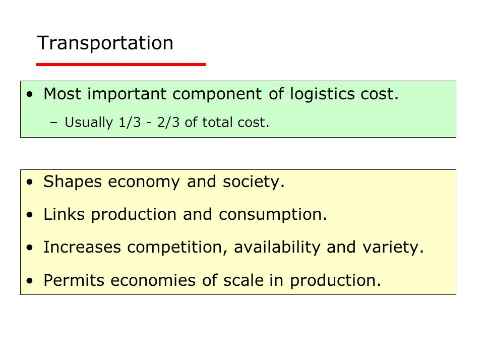Transportation Most important component of logistics cost. –Usually 1/3 - 2/3 of total cost. Shapes economy and society. Links production and consumpt