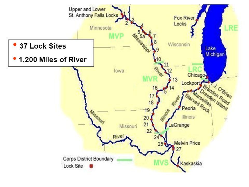 37 Lock Sites 1,200 Miles of River