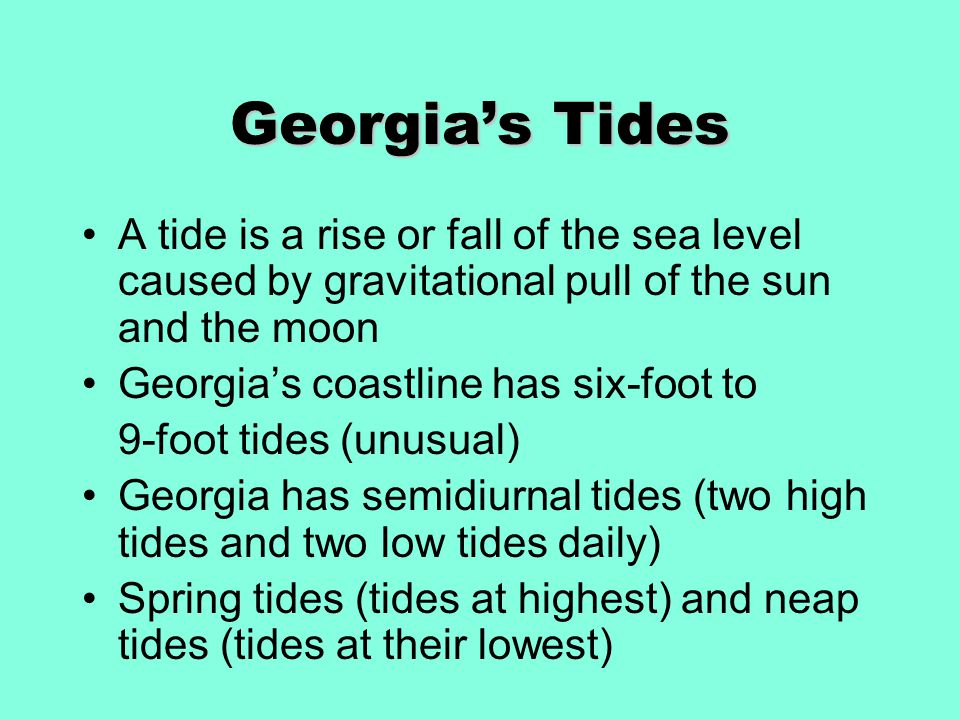 Georgia's Tides A tide is a rise or fall of the sea level caused by gravitational pull of the sun and the moon Georgia's coastline has six-foot to 9-foot tides (unusual) Georgia has semidiurnal tides (two high tides and two low tides daily) Spring tides (tides at highest) and neap tides (tides at their lowest)