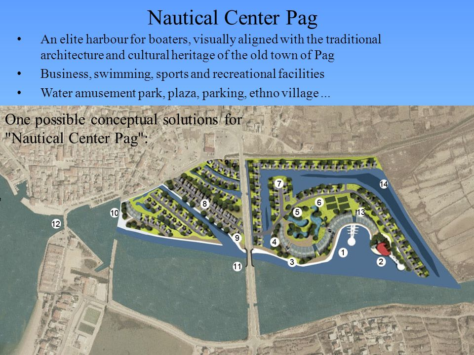 Nautical Center Pag An elite harbour for boaters, visually aligned with the traditional architecture and cultural heritage of the old town of Pag Business, swimming, sports and recreational facilities Water amusement park, plaza, parking, ethno village...