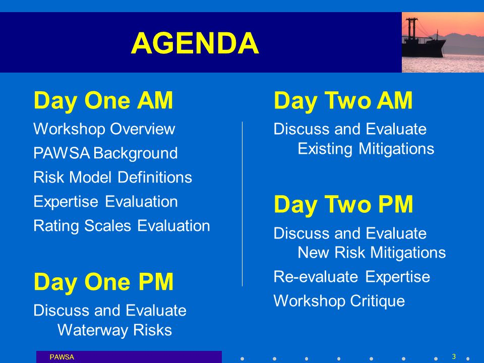 PAWSA 3 AGENDA Day One AM Workshop Overview PAWSA Background Risk Model Definitions Expertise Evaluation Rating Scales Evaluation Day One PM Discuss and Evaluate Waterway Risks Day Two AM Discuss and Evaluate Existing Mitigations Day Two PM Discuss and Evaluate New Risk Mitigations Re-evaluate Expertise Workshop Critique