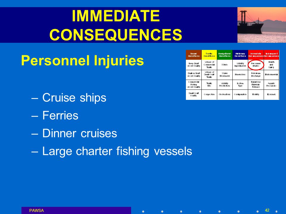 PAWSA 42 IMMEDIATE CONSEQUENCES Personnel Injuries –Cruise ships –Ferries –Dinner cruises –Large charter fishing vessels