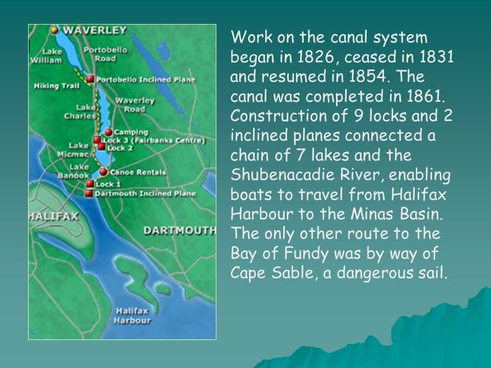 Work on the canal system began in 1826, ceased in 1831 and resumed in 1854. The canal was completed in 1861. Construction of 9 locks and 2 inclined pl