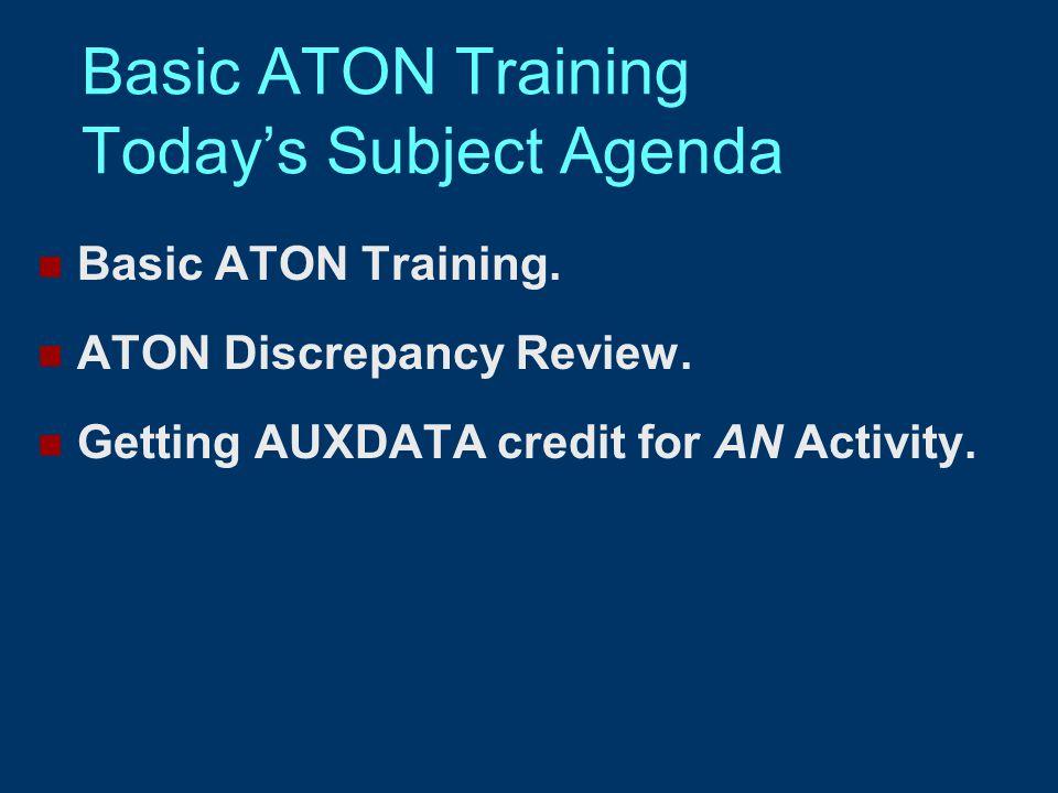 Basic ATON Training Today's Subject Agenda Basic ATON Training.