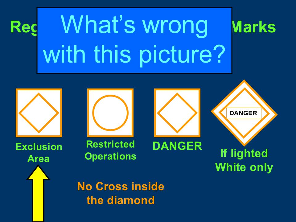 Regulatory and Information Marks Diamond - means danger and words may appear explaining the danger.
