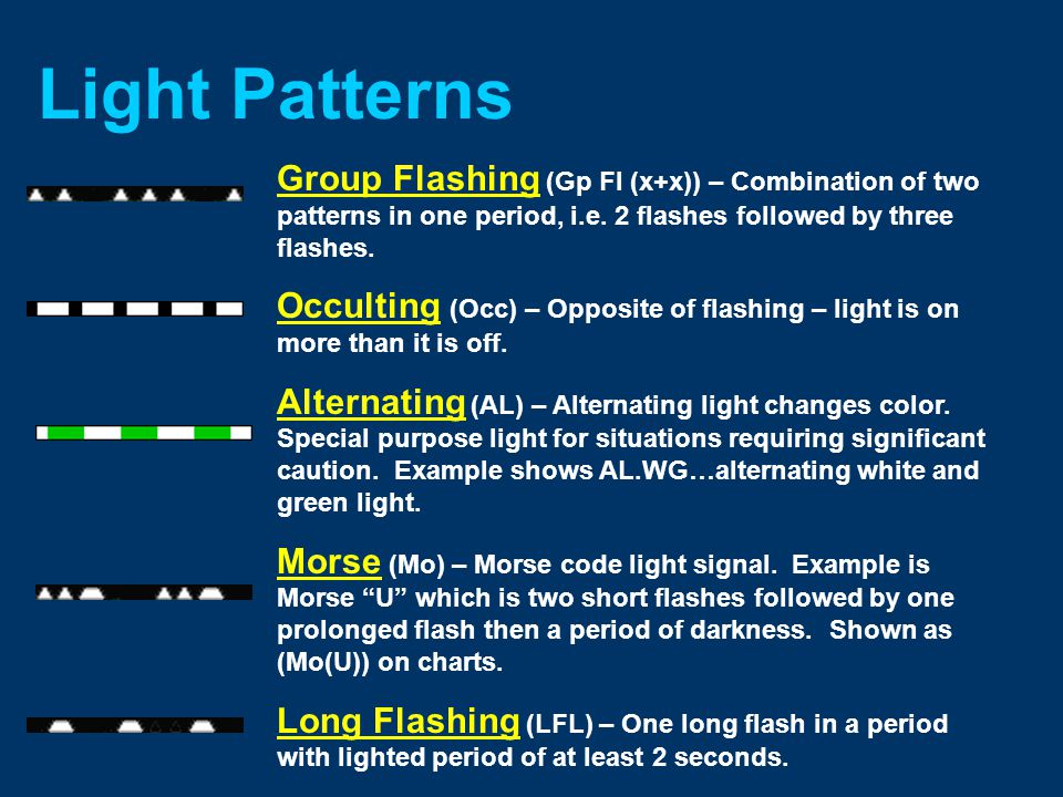 Light Patterns Fixed (F) – continuous, unblinking light Flashing (Fl) – light duration shorter than darkness.