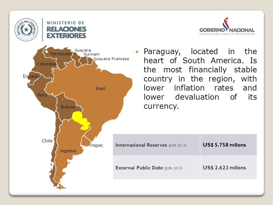 Paraguay, located in the heart of South America.