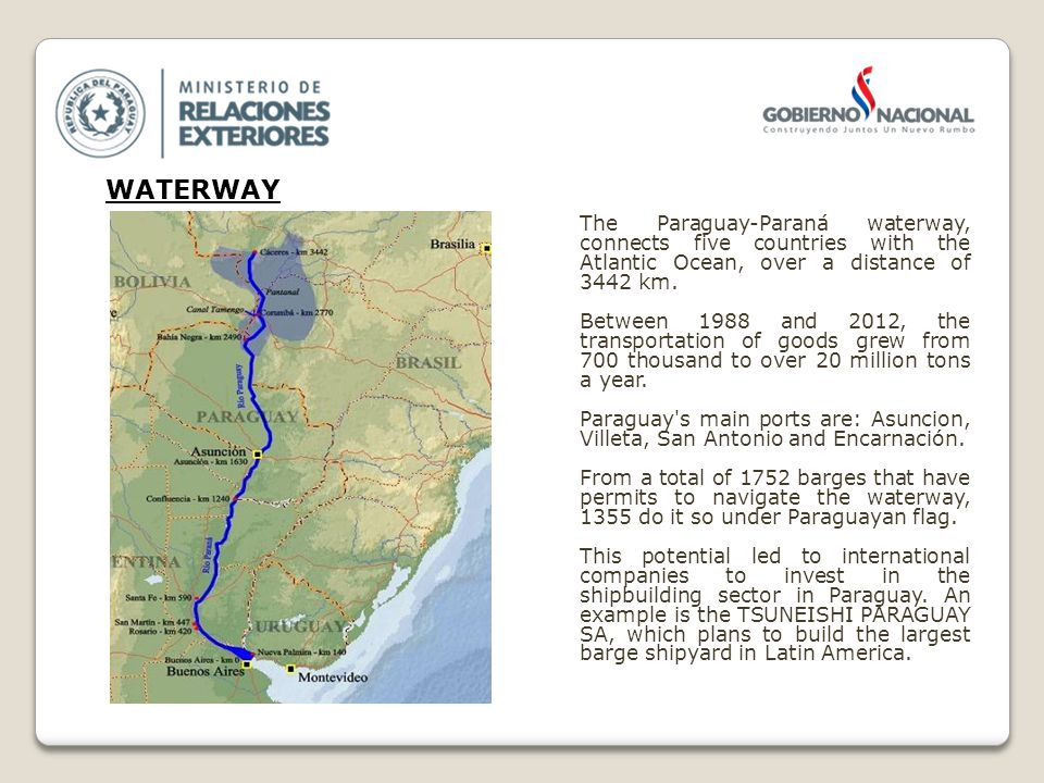 The Paraguay-Paraná waterway, connects five countries with the Atlantic Ocean, over a distance of 3442 km.
