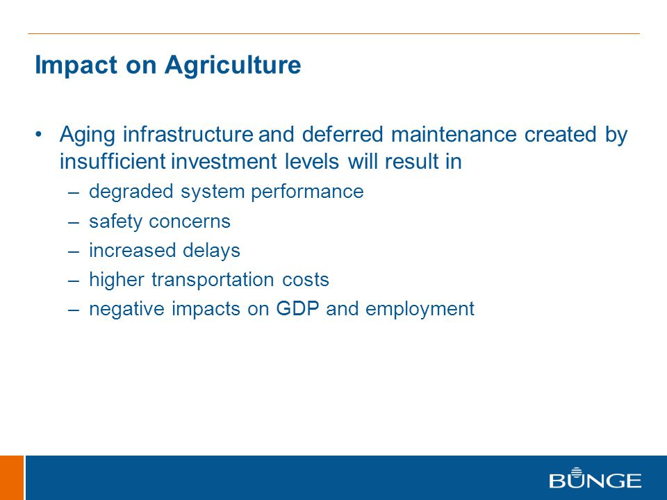 Impact on Agriculture Aging infrastructure and deferred maintenance created by insufficient investment levels will result in –degraded system performance –safety concerns –increased delays –higher transportation costs –negative impacts on GDP and employment