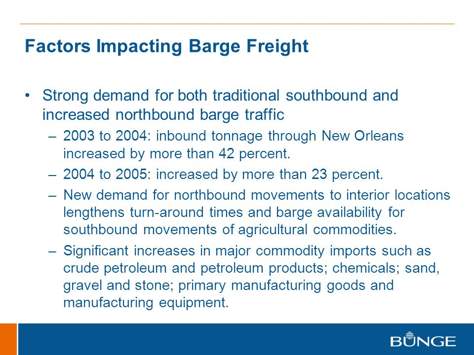 Factors Impacting Barge Freight Strong demand for both traditional southbound and increased northbound barge traffic –2003 to 2004: inbound tonnage through New Orleans increased by more than 42 percent.