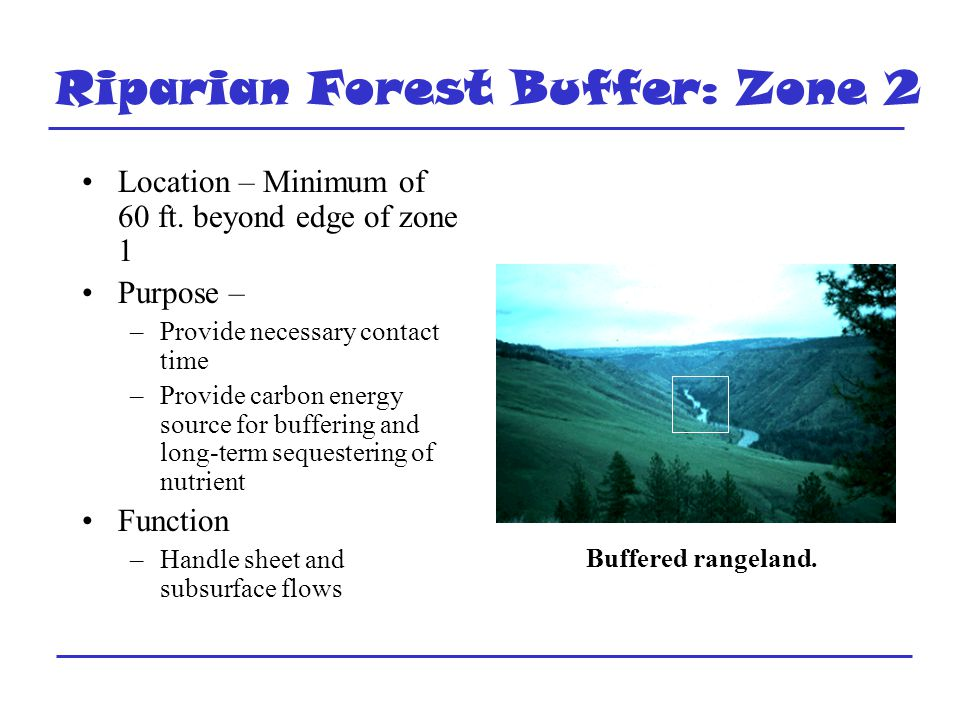 Riparian Forest Buffer: Zone 2 Location – Minimum of 60 ft.