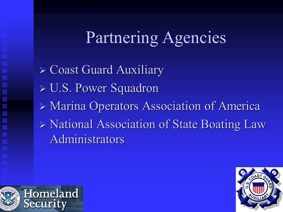 Partnering Agencies  Coast Guard Auxiliary  U.S. Power Squadron  Marina Operators Association of America  National Association of State Boating La