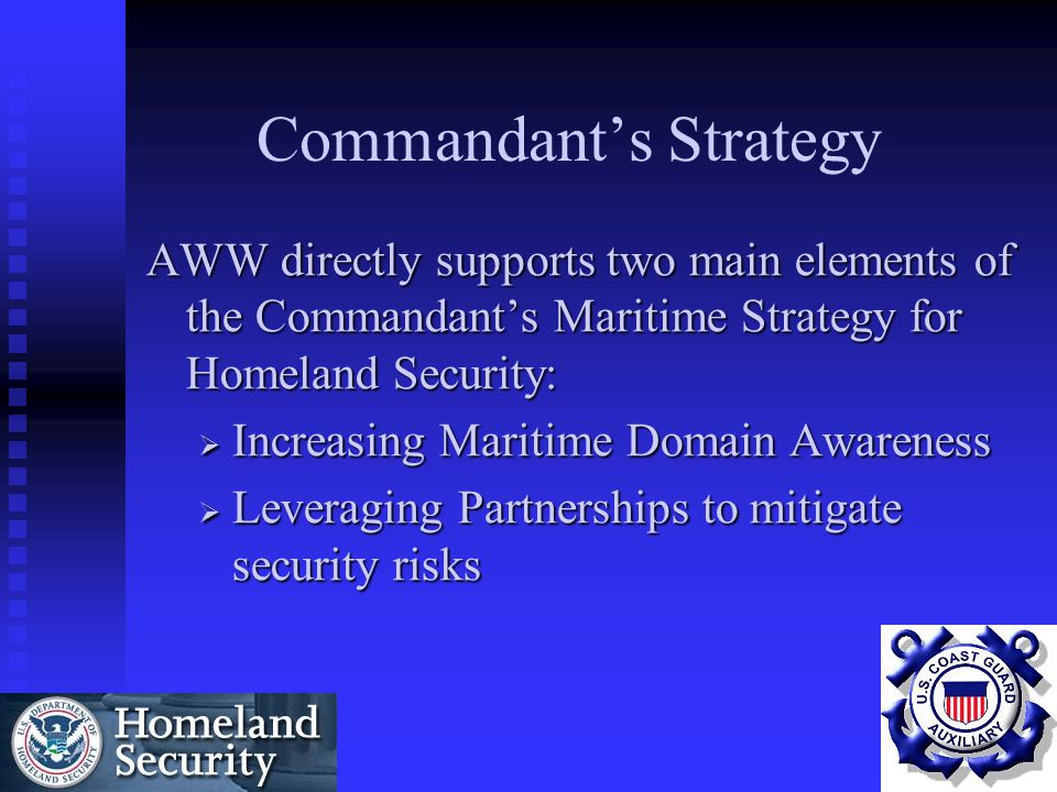 Background  September 11, 2001  Need to improve Homeland Security  Need for a force multiplier*  Local Initiatives  MTSA  National Oversight Program