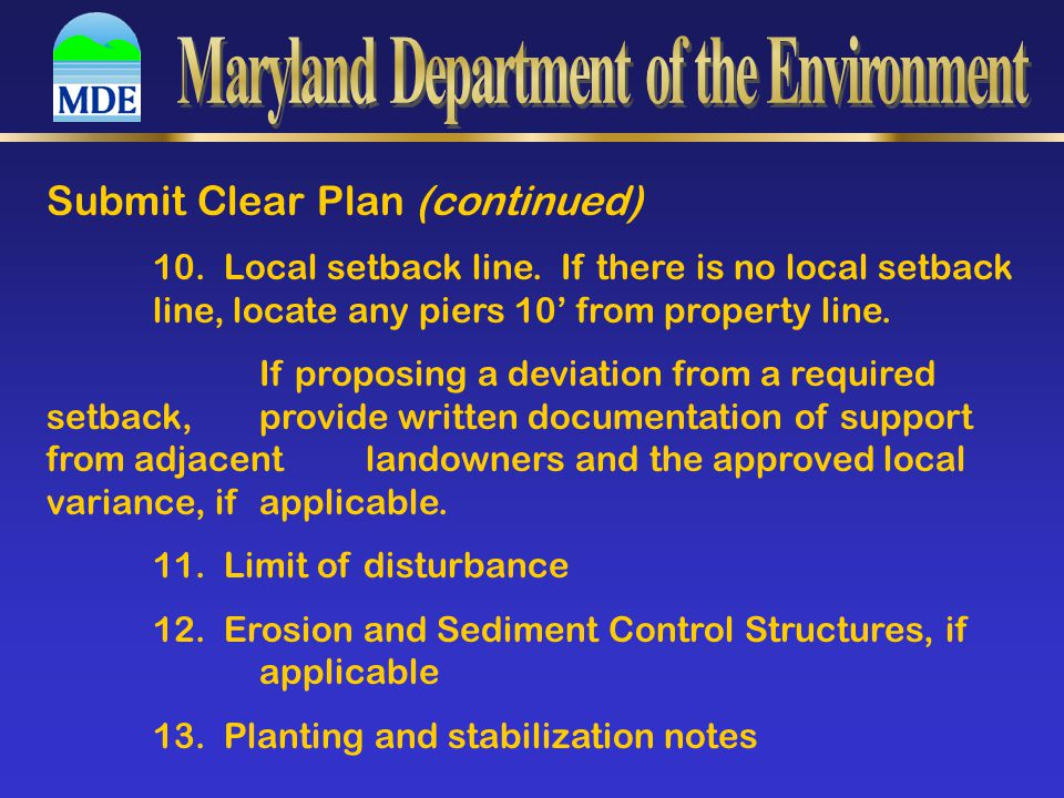 Submit Clear Plan (continued) 10. Local setback line.