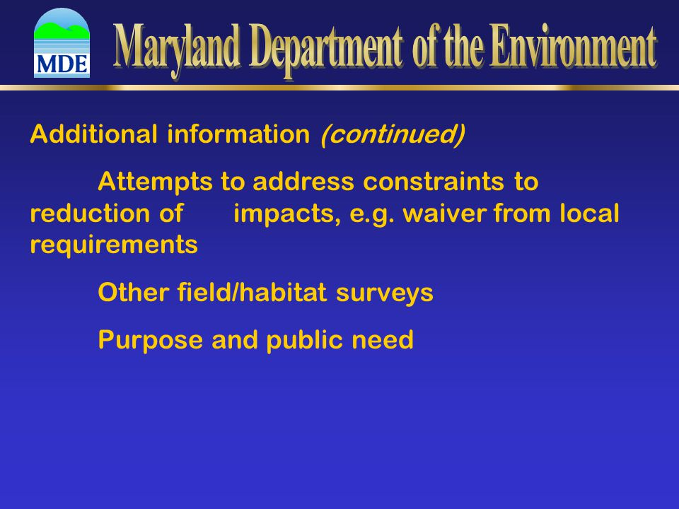 Additional information (continued) Attempts to address constraints to reduction of impacts, e.g.