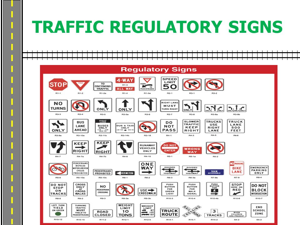 TRAFFIC REGULATORY SIGNS
