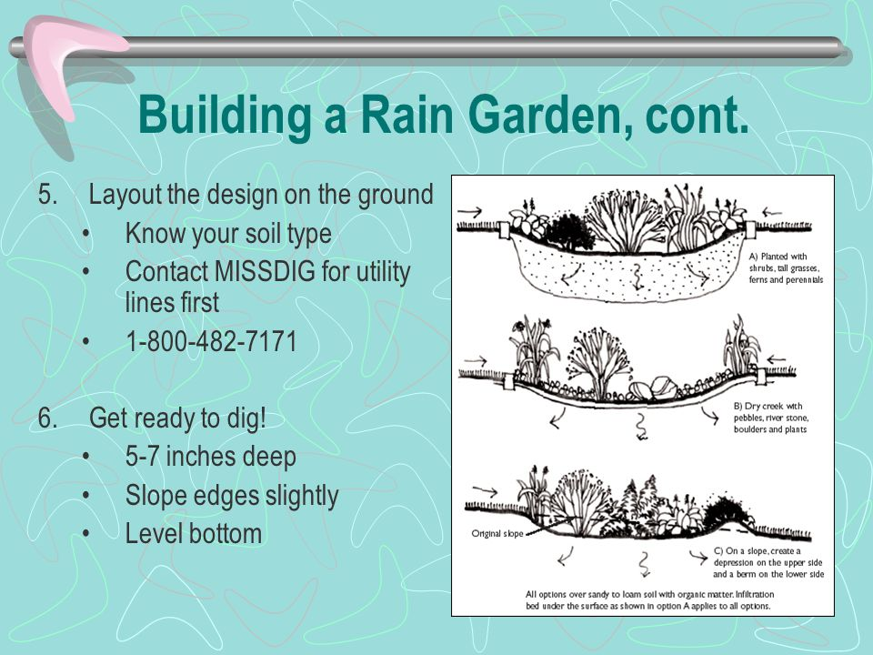 Building a Rain Garden, cont. 5.Layout the design on the ground Know your soil type Contact MISSDIG for utility lines first 1-800-482-7171 6.Get ready