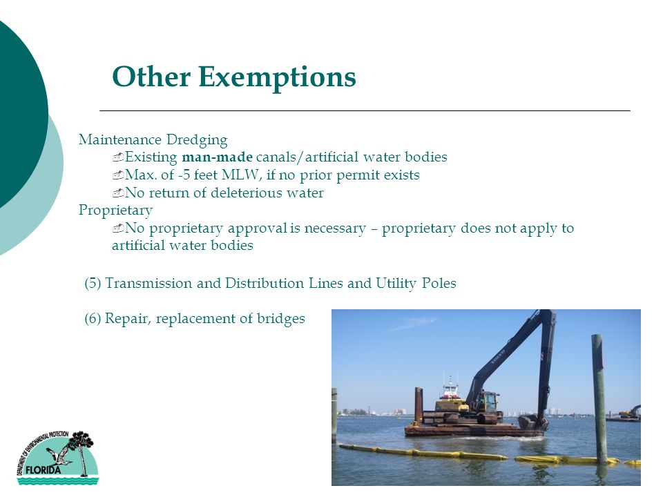 Maintenance Dredging ­ Existing man-made canals/artificial water bodies ­ Max.