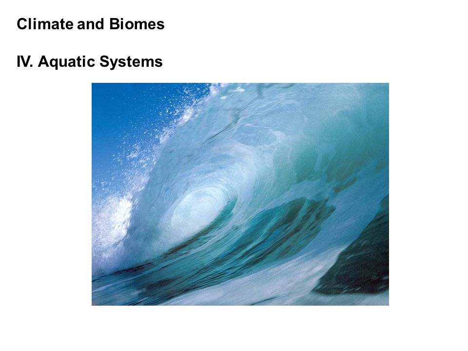 Climate and Biomes IV.Aquatic Systems A.
