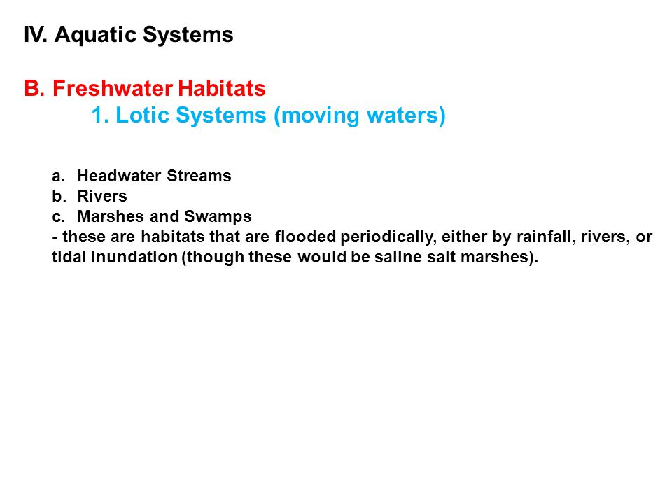 IV. Aquatic Systems B. Freshwater Habitats 1. Lotic Systems (moving waters) a.Headwater Streams b.Rivers c.Marshes and Swamps - these are habitats tha