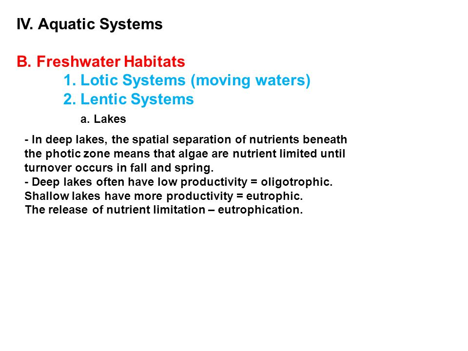 IV. Aquatic Systems B. Freshwater Habitats 1. Lotic Systems (moving waters) 2. Lentic Systems a. Lakes - In deep lakes, the spatial separation of nutr