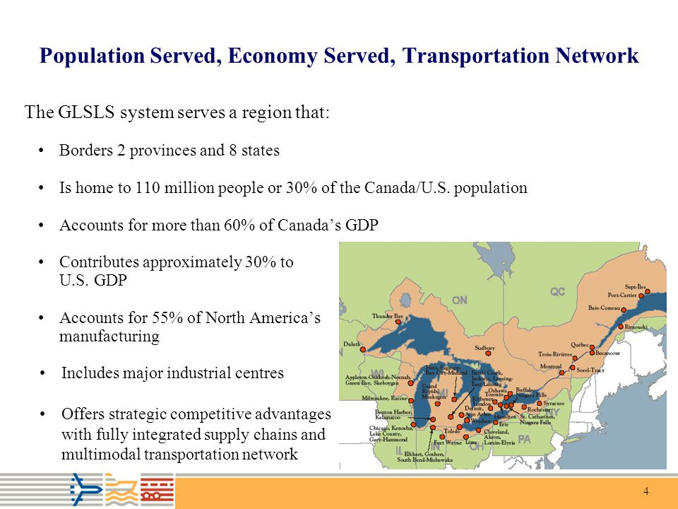4 Population Served, Economy Served, Transportation Network The GLSLS system serves a region that: Borders 2 provinces and 8 states Is home to 110 mil