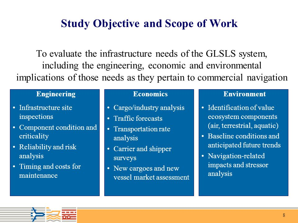 8 Study Objective and Scope of Work To evaluate the infrastructure needs of the GLSLS system, including the engineering, economic and environmental im