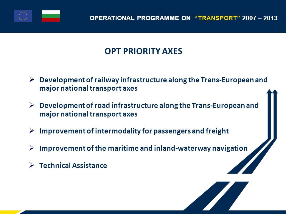 OPERATIONAL PROGRAMME ON TRANSPORT 2007 – 2013 Budget allocation №Priority axes % of the Budget 1 Development of railway infrastructure along the Trans-European and major national transport axes 28,95% 2 Development of road infrastructure along the Trans- European and major national transport axes 49,39% 3 Improvement of intermodality for passengers and freight 10,54% 4 Improvement of the maritime and inland-waterway navigation 7,83% 5 Technical Assistance3,29% Total 100%